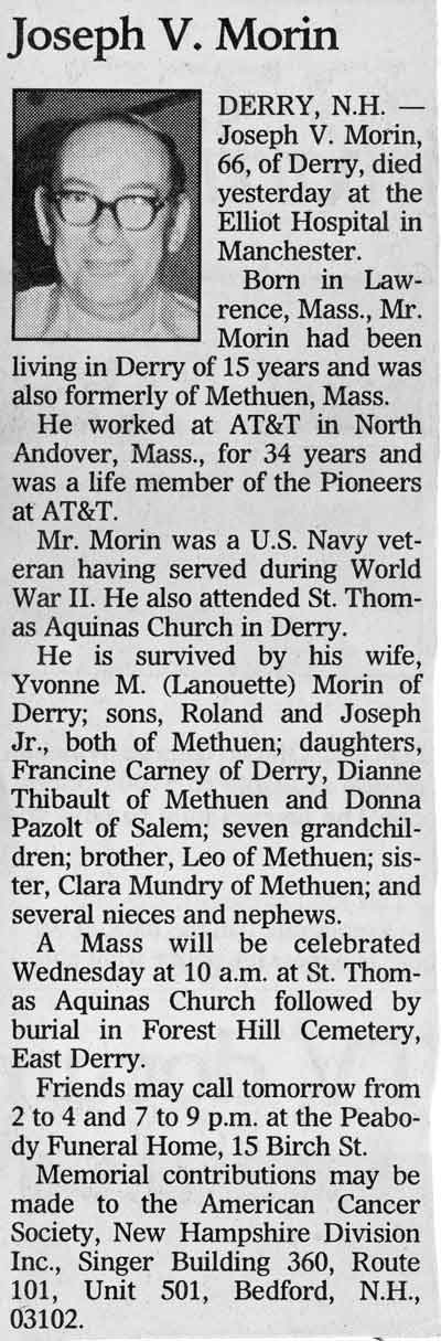 Joe Morin Obit