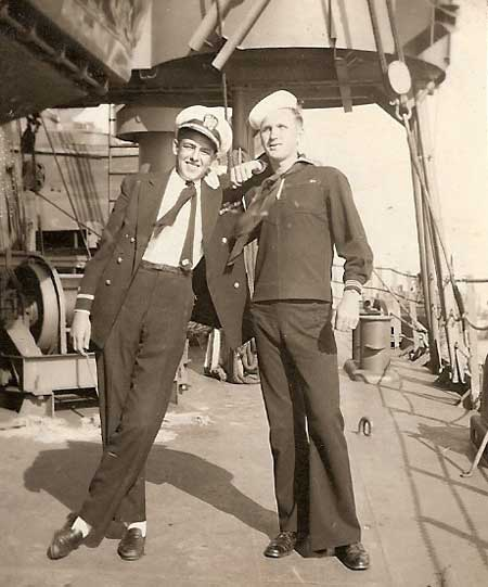 Ens. C. A. Peake III and Unknown White Hat